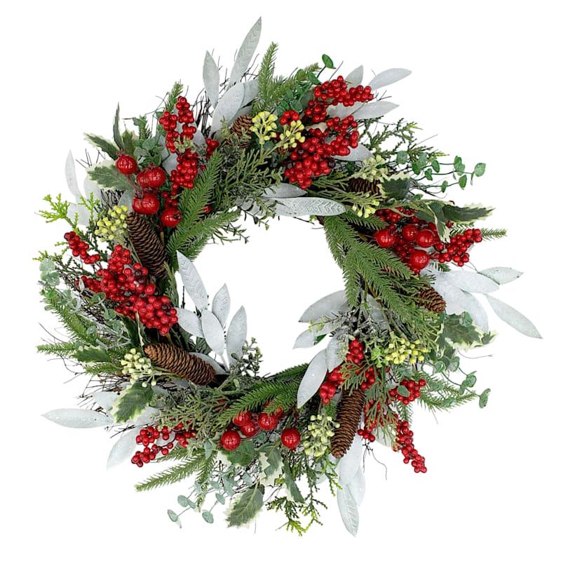 """Pinecone & Berry Wreath, 24"""""""