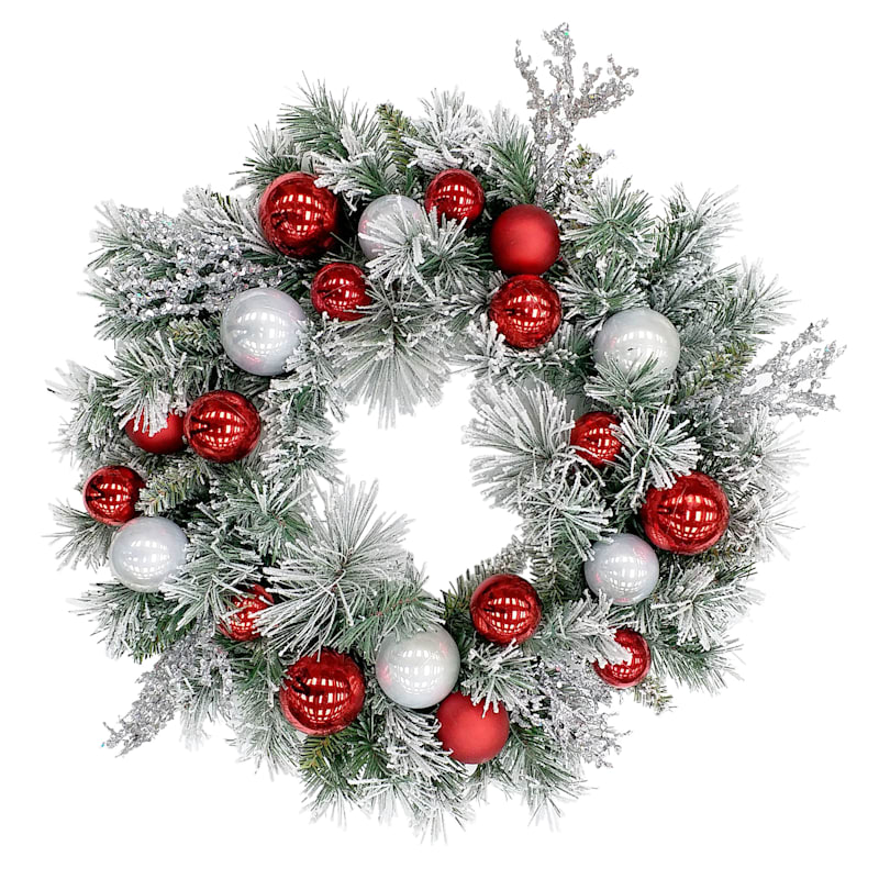 Flocked Red & Silver Ornament Wreath, 24""