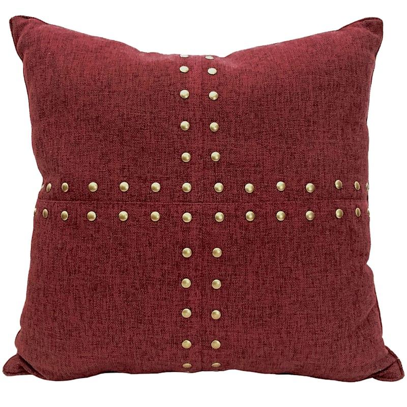 Burgundy Squares Nailhead Pillow 18X18