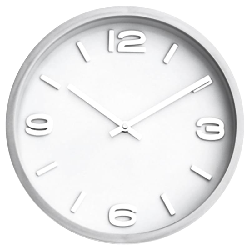 Silver/White Accent Clock- 12-in