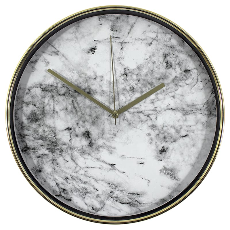 Gold/White Marble Accent Clock- 10-in