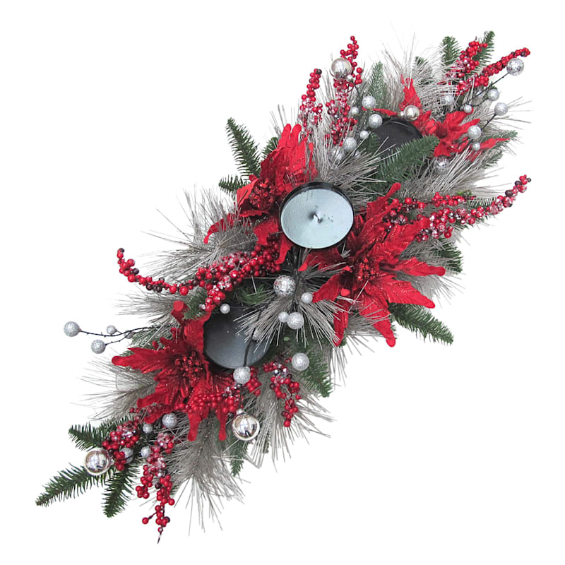 """Red Poinsettia Candle Holder, 36"""""""