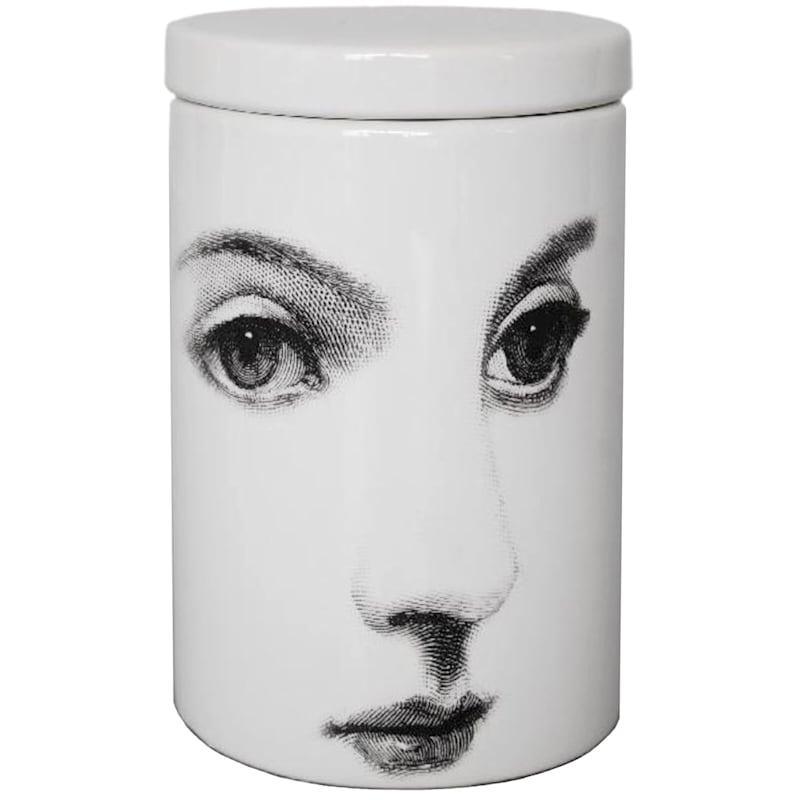 Ceramic Woman's Face Jar- 6.8-in