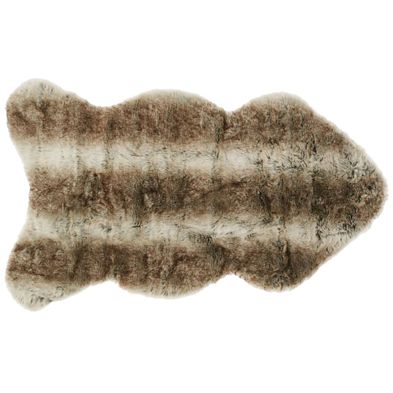 Grayson Shaped Ivory & Brown Faux Fur Area Rug, 2x4