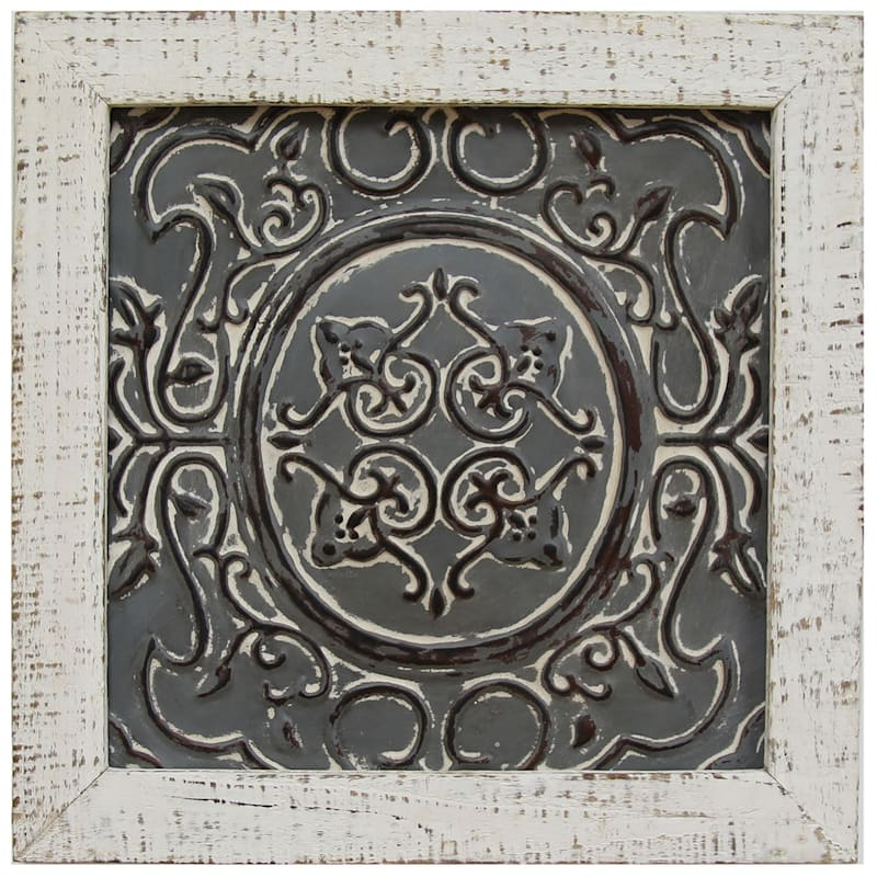 12X12 Embossed Metal Medallion Framed Wall Decor