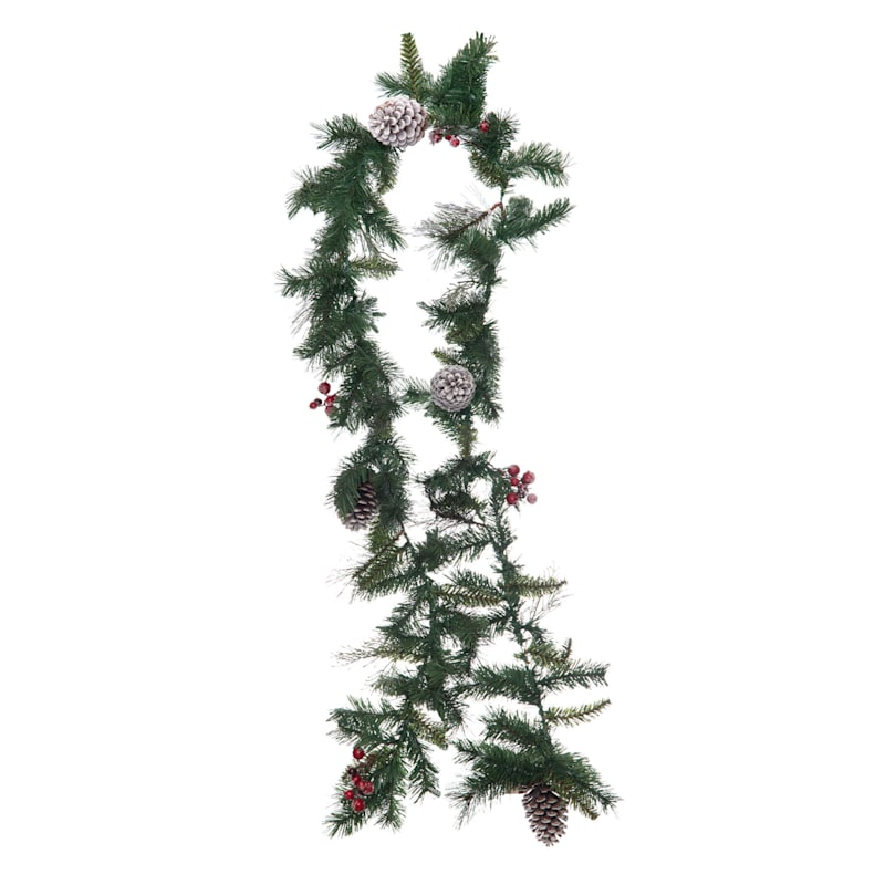 Mixed Pine Garland with Red Berries, 9'