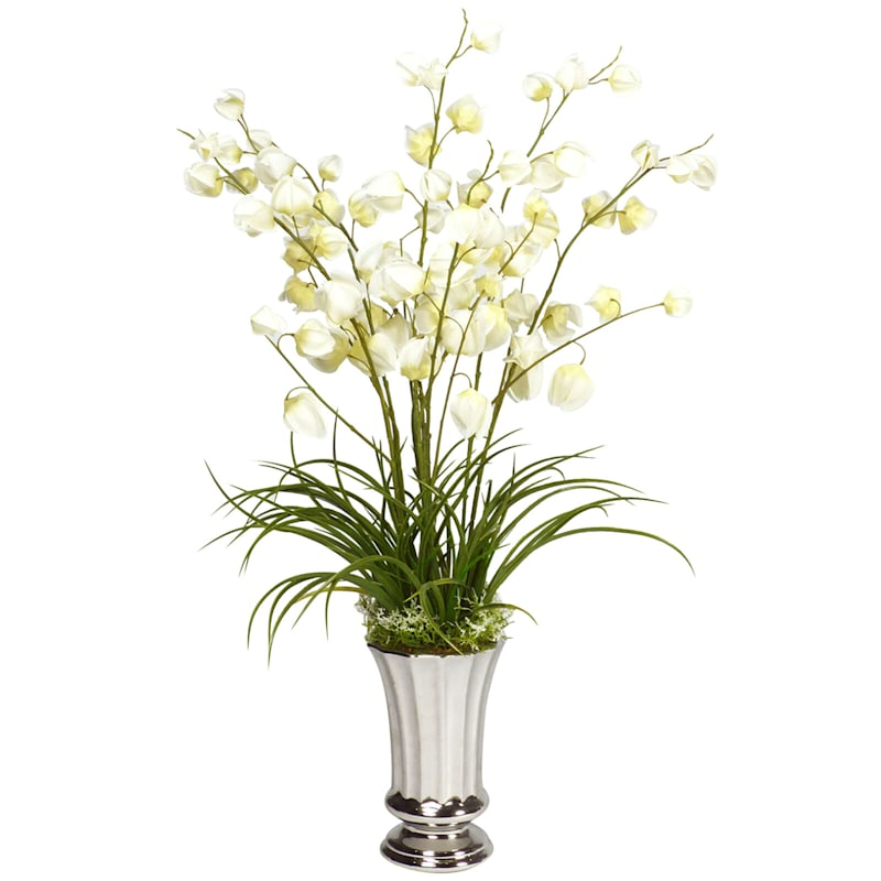 35in. Floral In Silver Pot