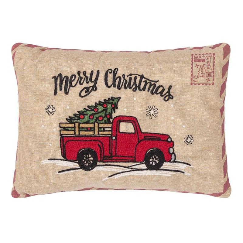 Red Truck Merry Christmas Postcard Throw Pillow