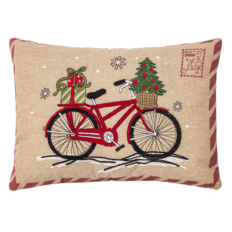 Red Bike Postcard Throw Pillow