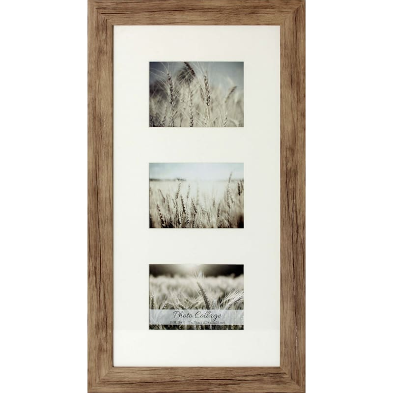 12X24 Driftwood Farmhouse Matted Frame Holds (X3) 5X7 Photos