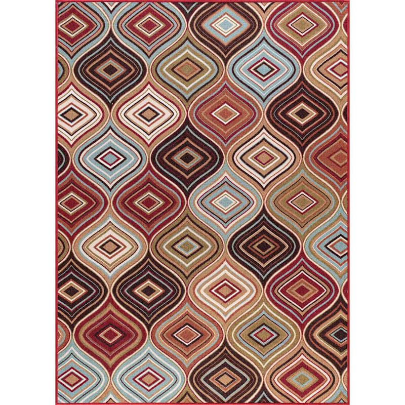 (D374) Contemporary Geometric & Diamond Design Area Rug 3X4