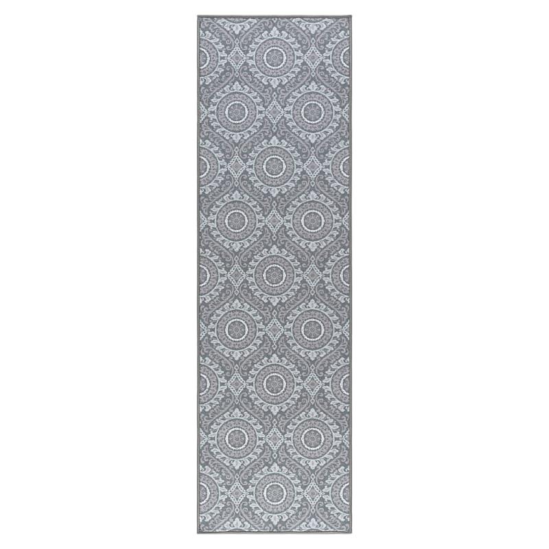 (D375) Traditional Medallion & Geometric Pattern Runner, 2x7