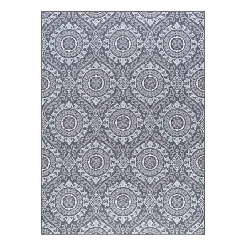 (D375) Traditional Medallion & Geometric Pattern Area Rug Area Rug, 5x7