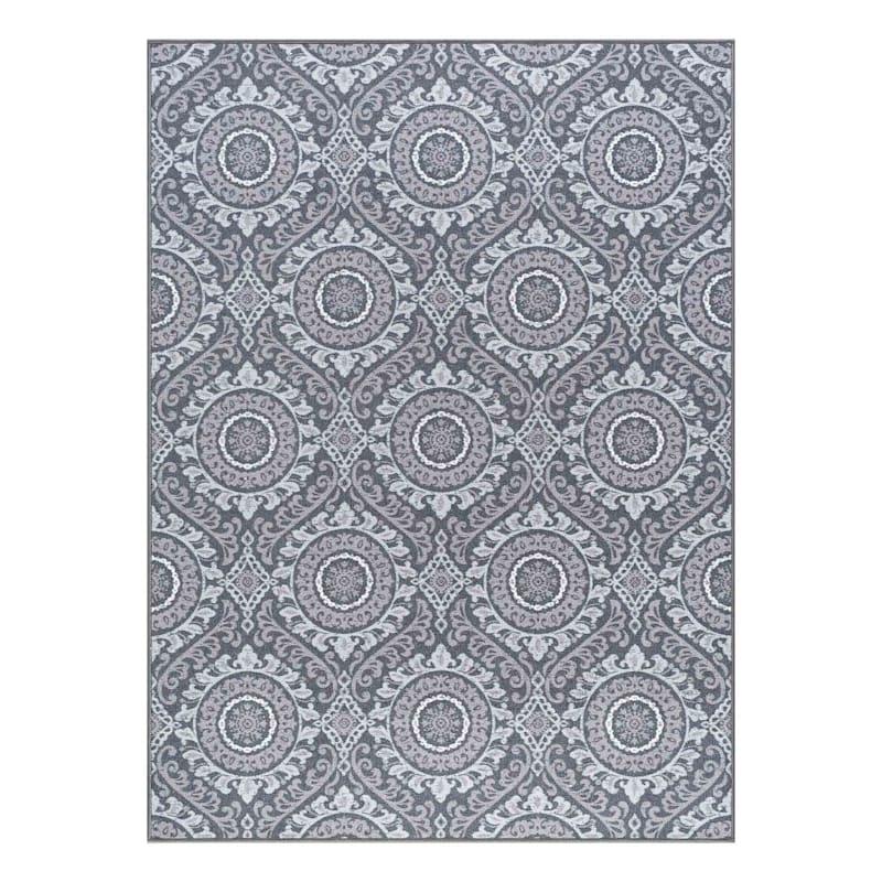 (D375) Traditional Medallion & Geometric Pattern Area Rug, 7x10