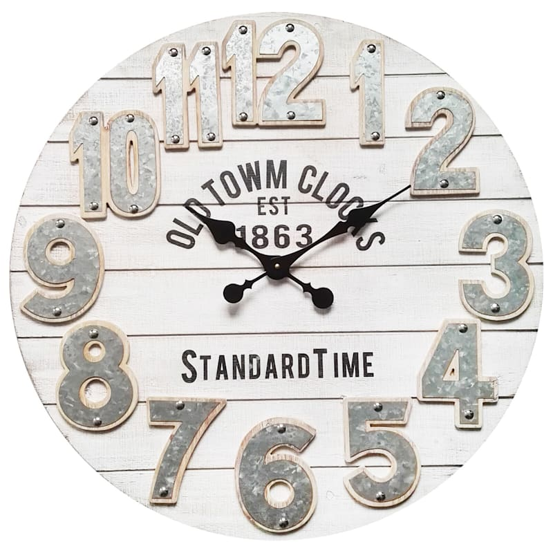 28in. es Round White Wood Wall Clock
