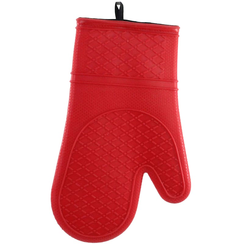 Silicone Grip Red Oven Mitt