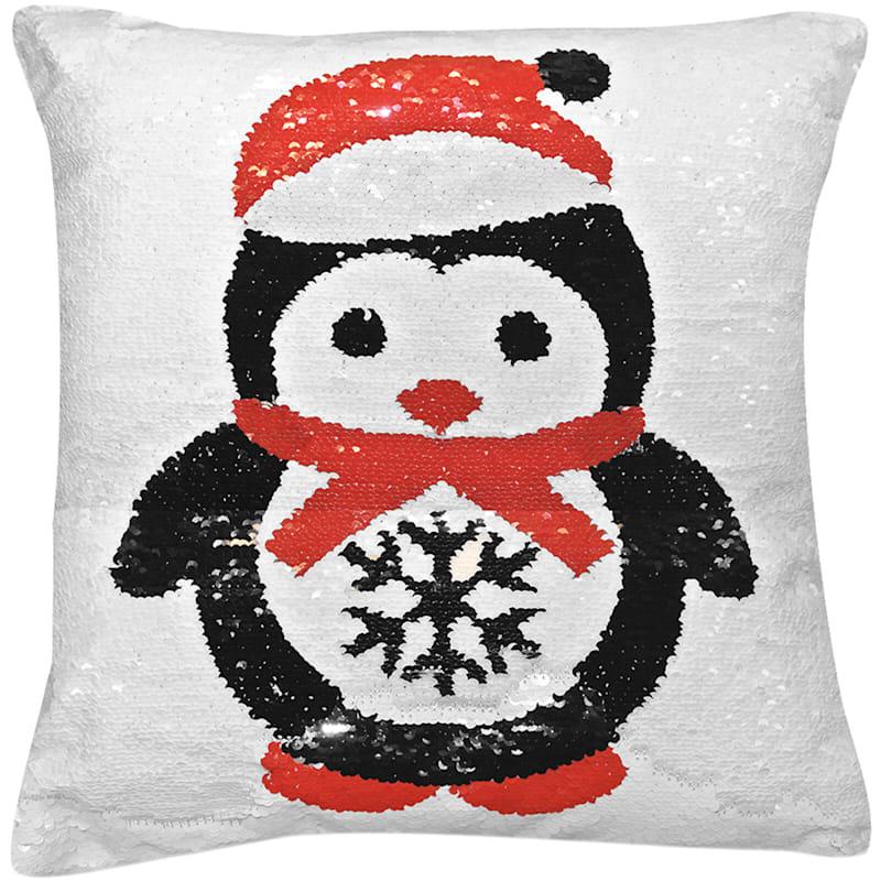 "Sequin Penguin Throw Pillow, 16"""