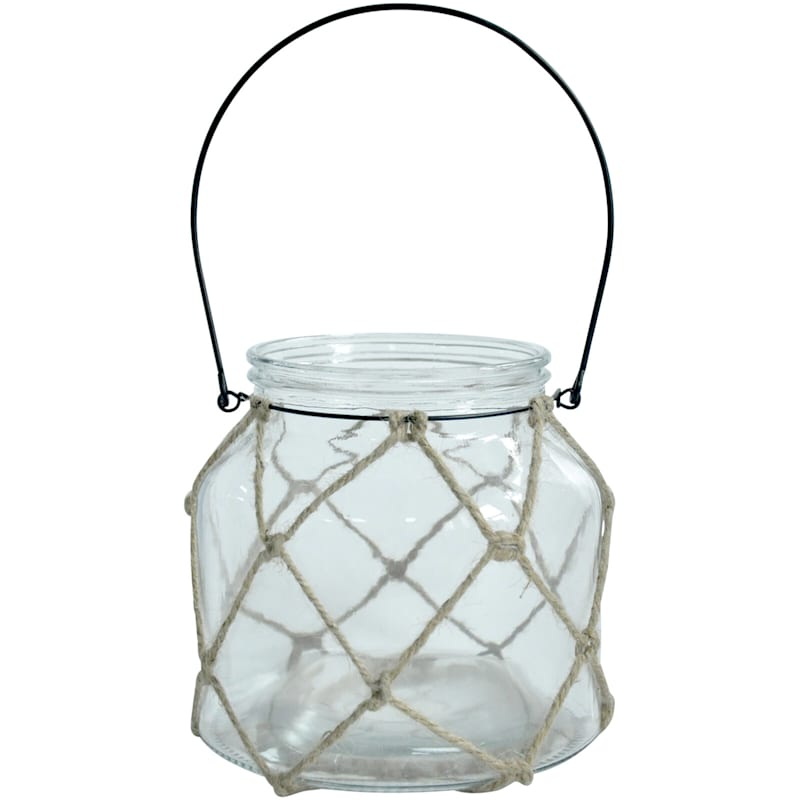 Clear Glass Lantern With Jute 7X6