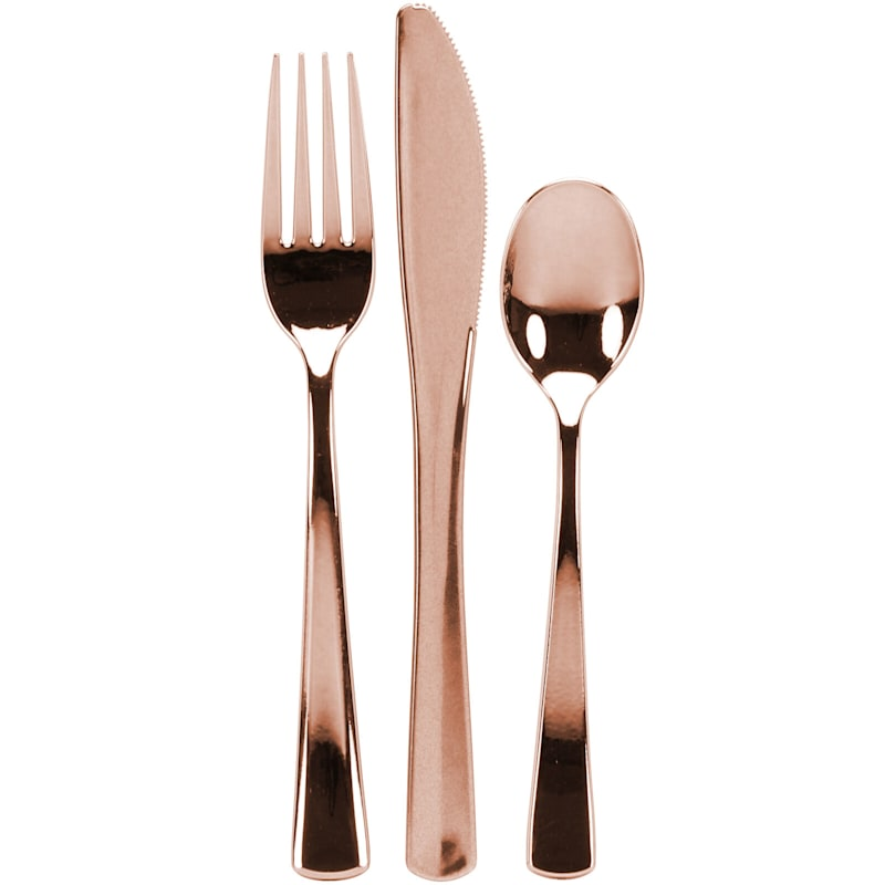 Polished Rose Gold 24-Piece Plastic Cutlery Combo Lillian Table Settings