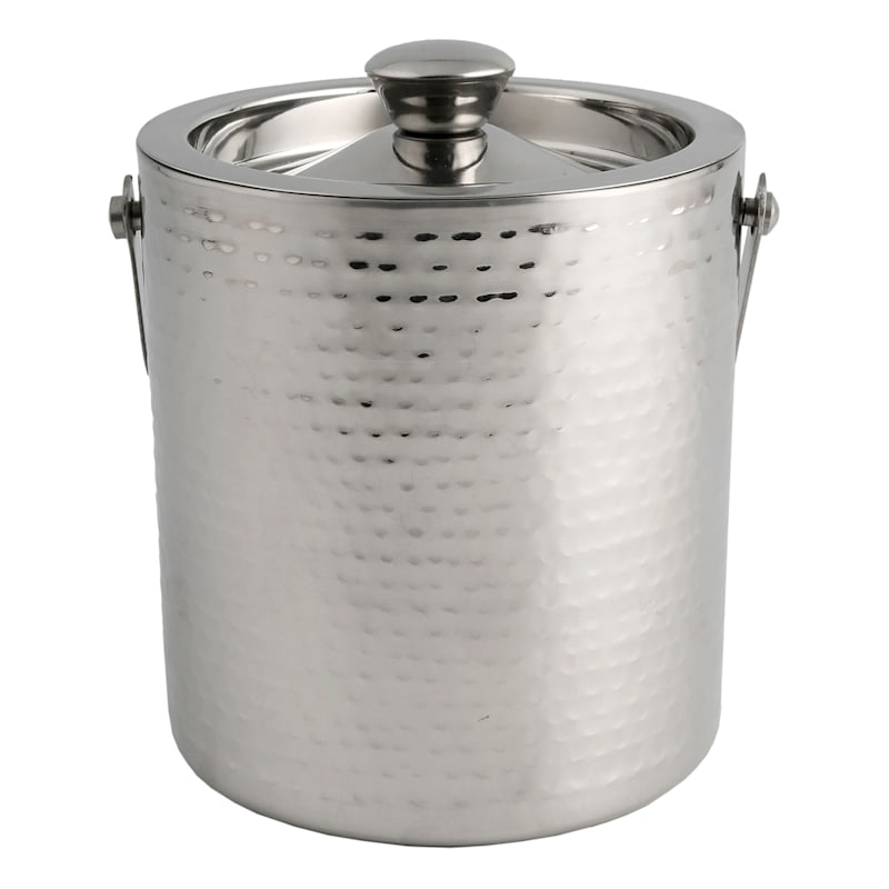 Hammered Stainless 2 Quart Double Wall Ice Bucket