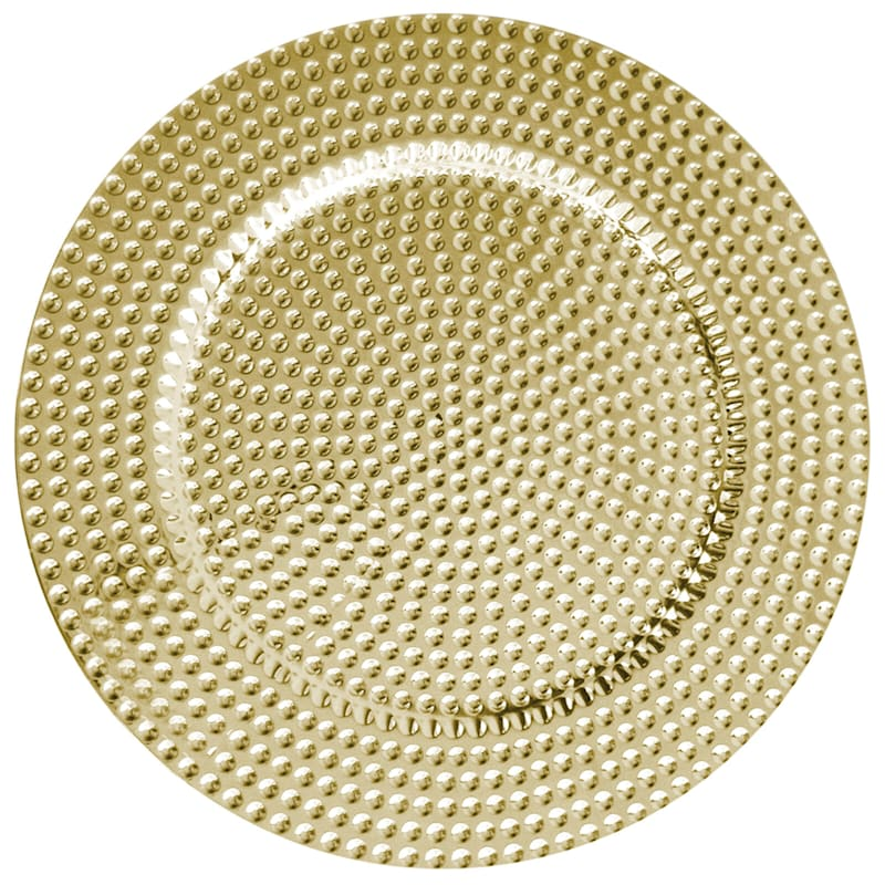 Gold Colored Beaded Trim Set Of 4 Charger Plates