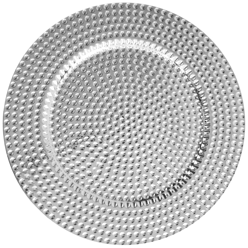 Silver Colored Beaded Trim Set Of 4 Charger Plates