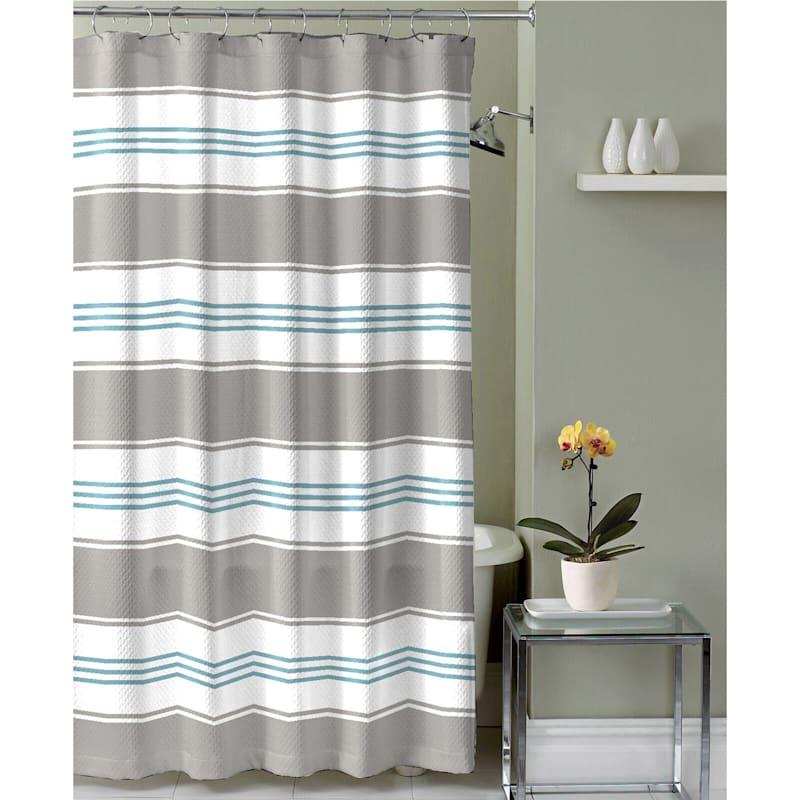 Hampton Linen 13-Piece Printed Shower Curtain With Hooks Set