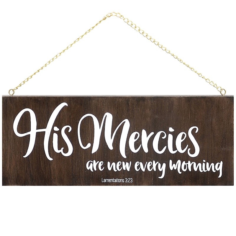 10X4 His Mercies Hanging Wood Board Wall Art