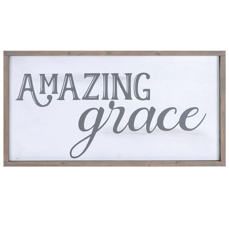20X10 Amazing Grace Framed Wood Wall Art