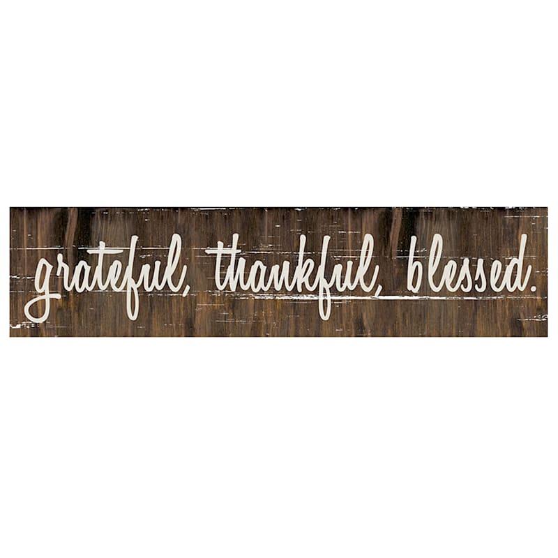 32X7 Grateful Thankful Blessed Wood Board Wall Art