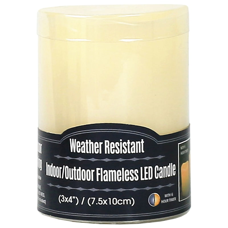 Outdoor Weather-Resistant White LED Candle