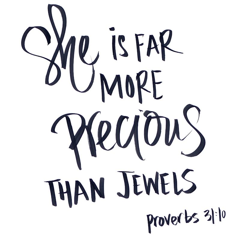 15X15 More Precious Than Jewels Canvas Art