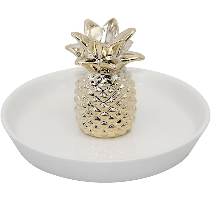 5.5in. Ceramic Gold Pineapple Trinket Tray