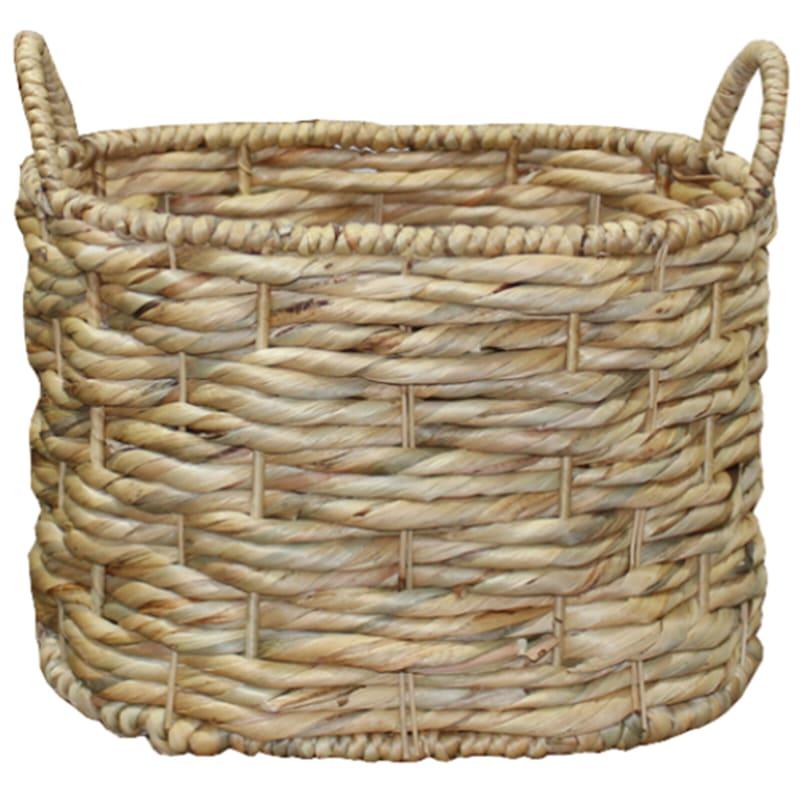 Oval Water Hyacinth Triple Twist Basket, Small
