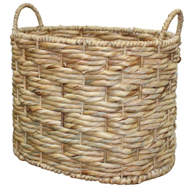 Oval Water Hyacinth Triple Twist Basket, Medium