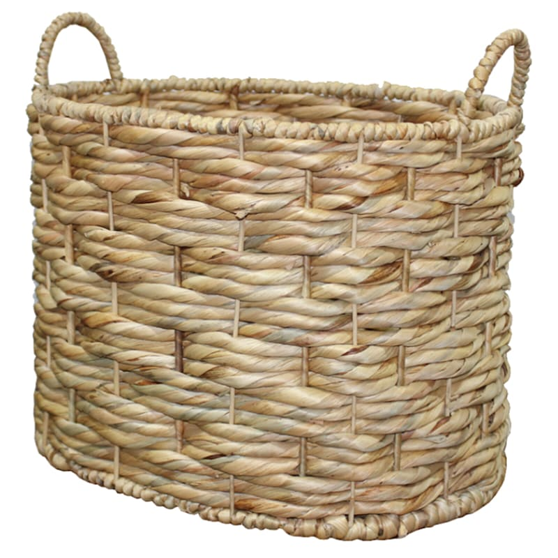 Oval Water Hyacinth Triple Twist Basket, Large