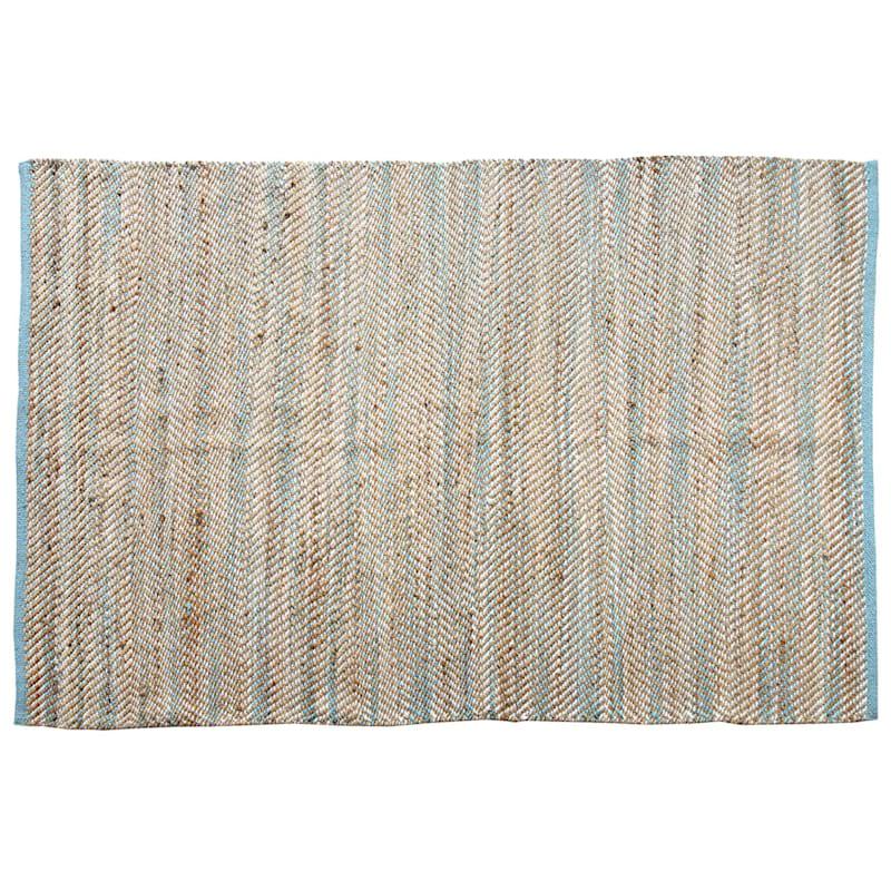 B483 Hermitage Herringbone Jute Rug, 5' x 7', Natural/Blue