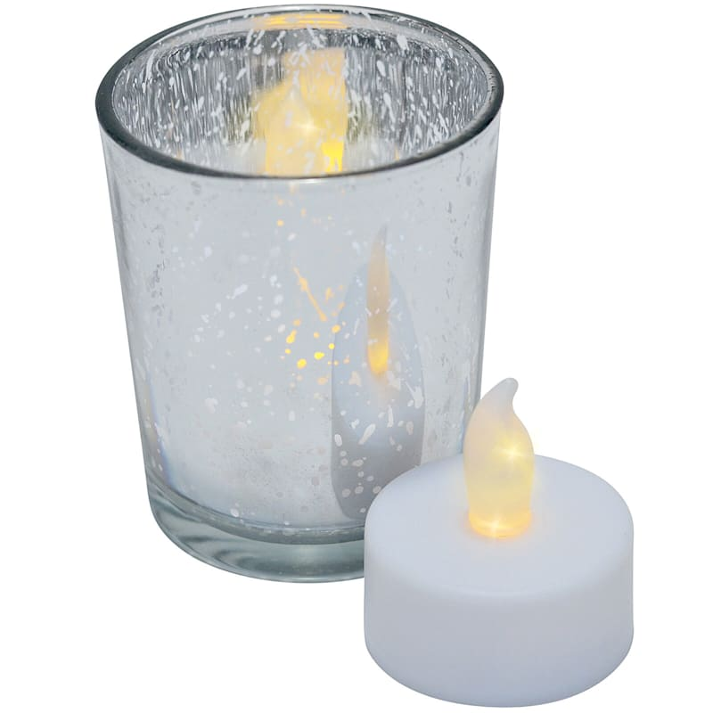 Set Of 9 Led Tealight Candles In Silver Votives