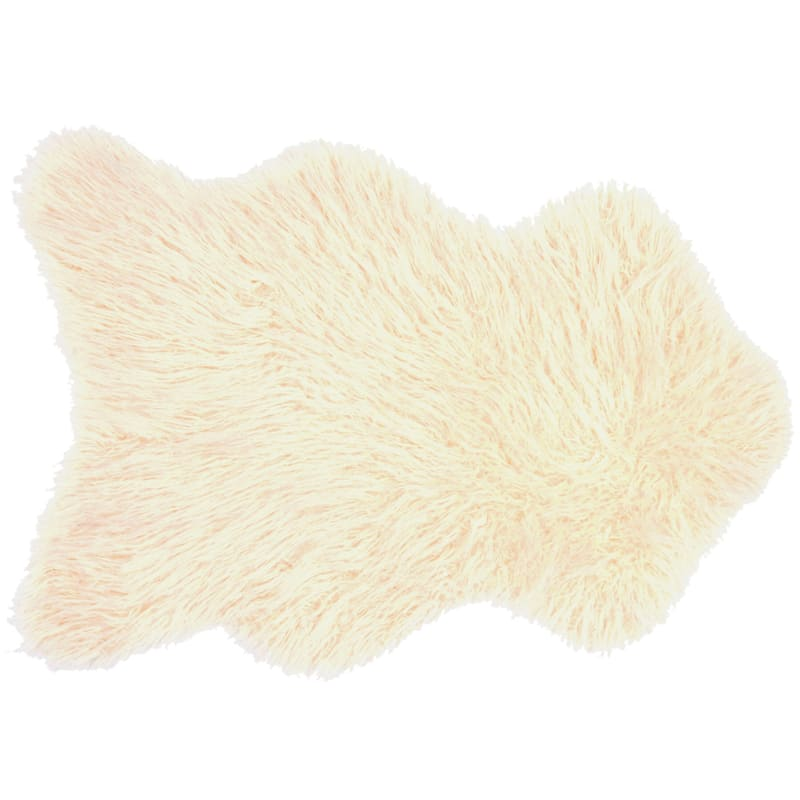 Altai Mongolian Faux Fur Ivory Area Rug, 3x5