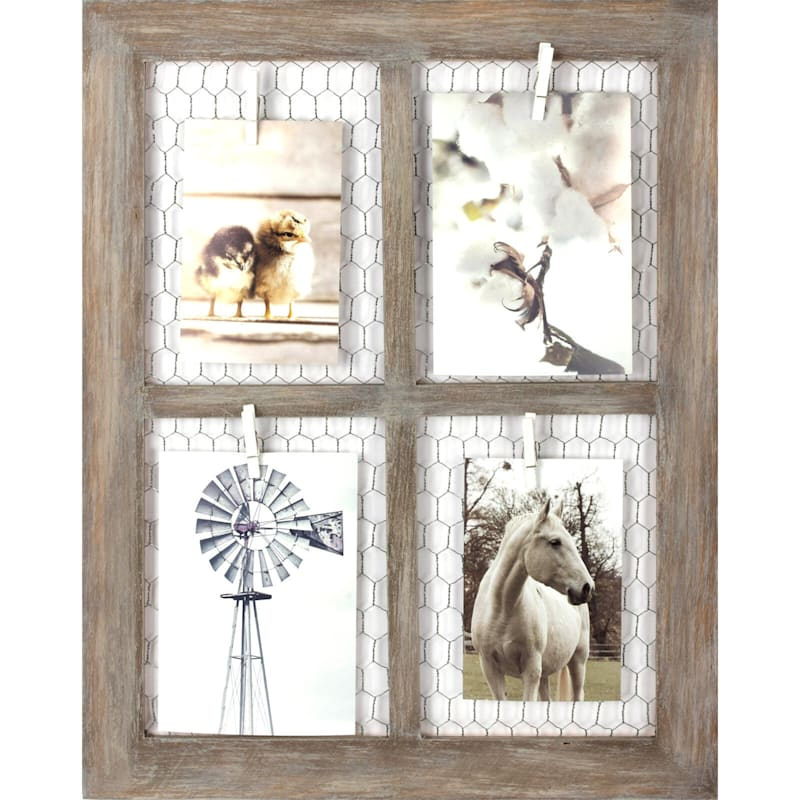16X20 Chicken Wire Photo Collage Holds (X2) 4X6 And (X2) 5X7 Photos