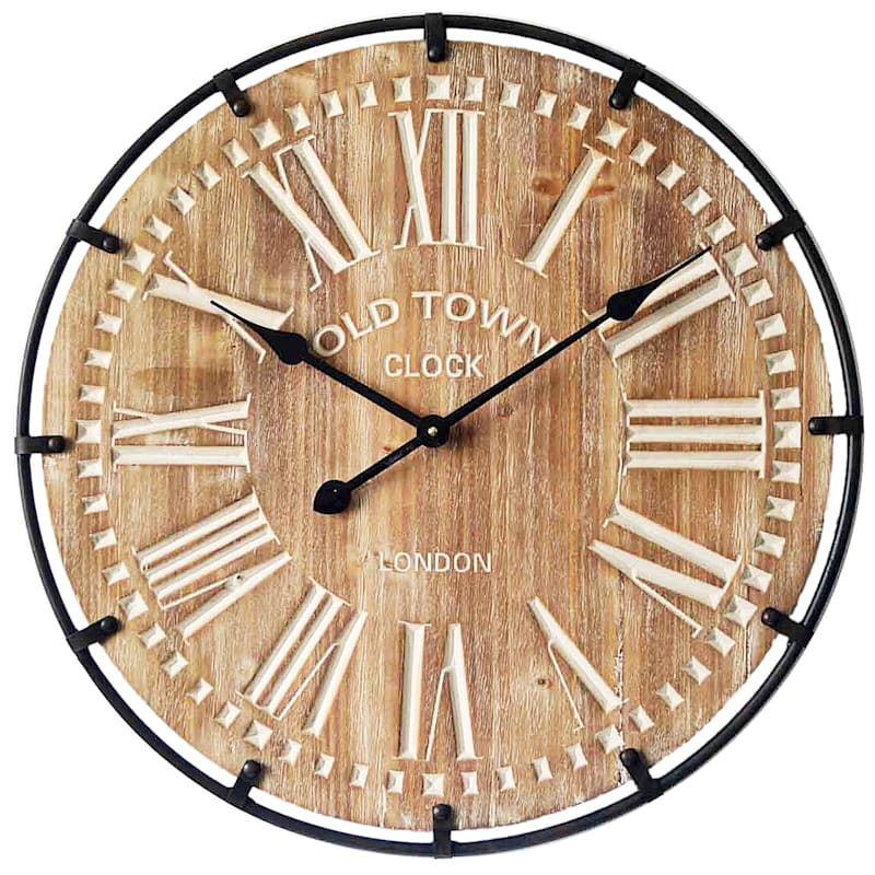 23 IN WOOD CLOCK