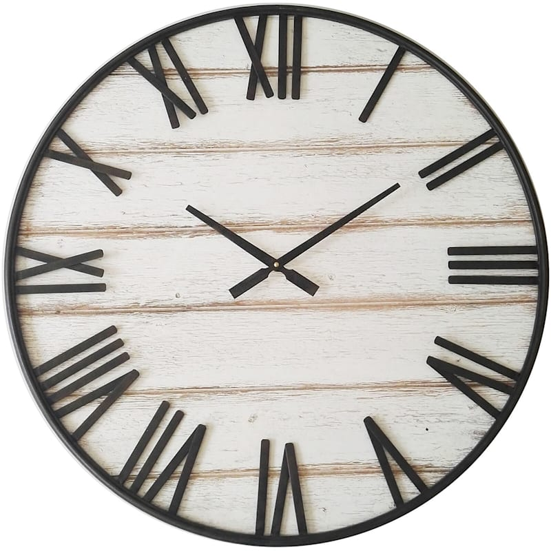 """White Plank Clock with Roman Numerals, 27"""""""