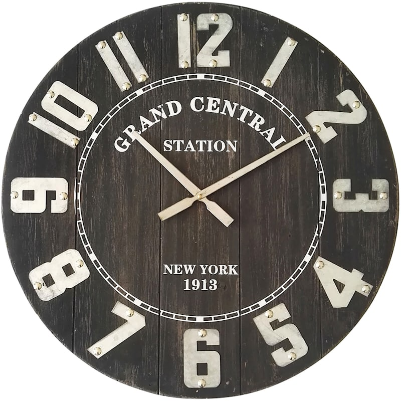 23In Round Wood Clock