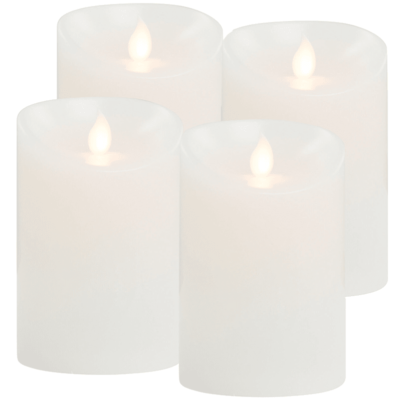 4-Piece Flicker Flame LED Candle Set with Timer