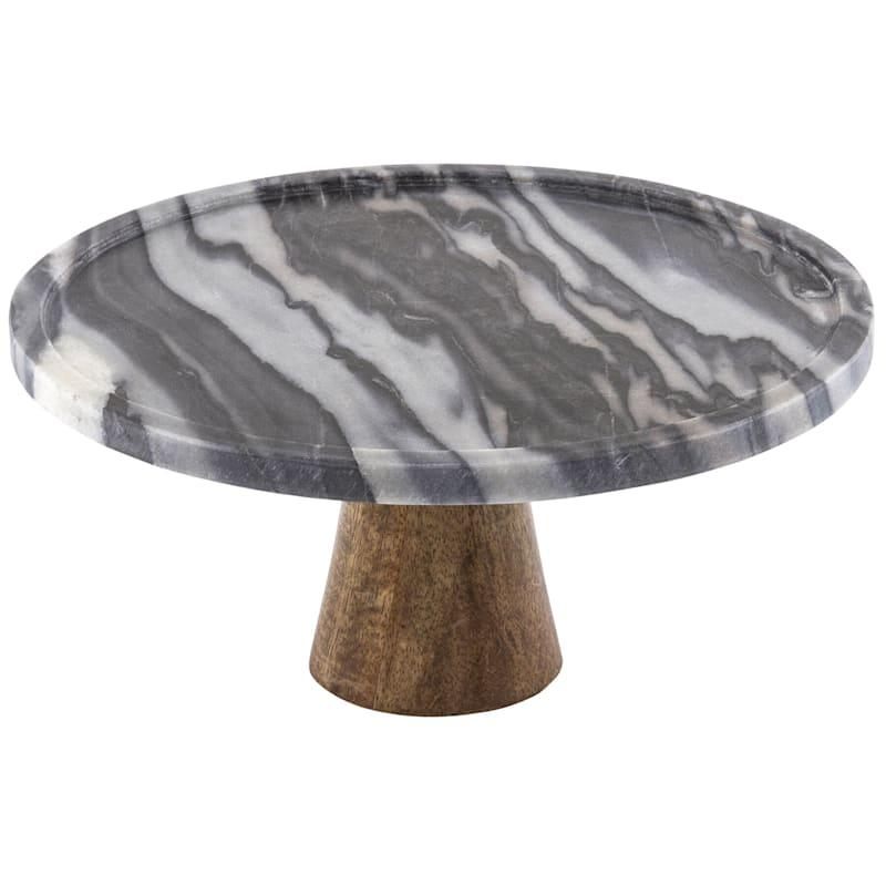 Round Black Marble Cake Stand/Acacia Wood Base