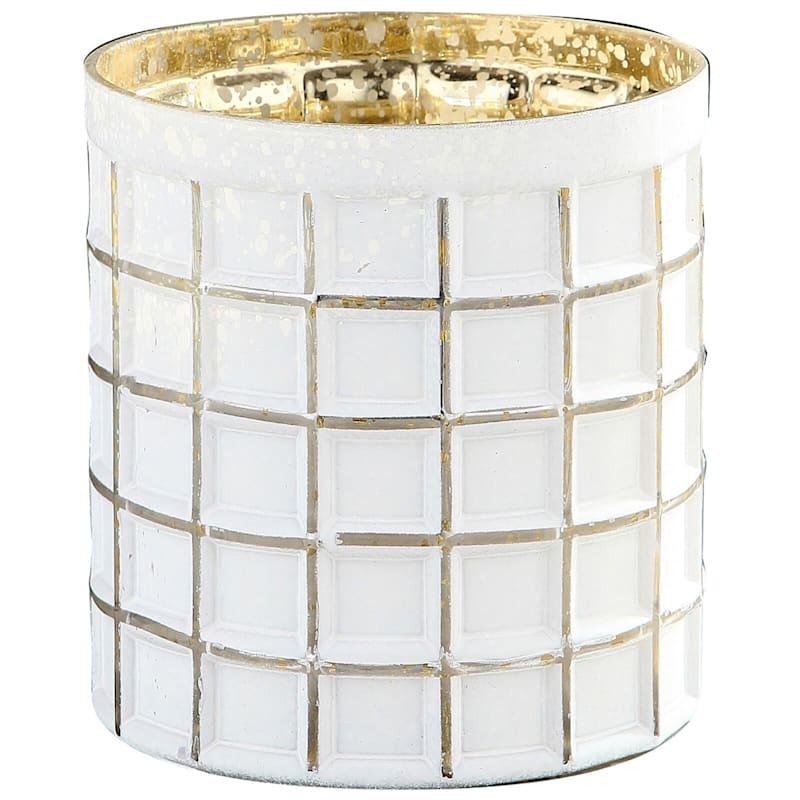White Glass Pillar Candleholder