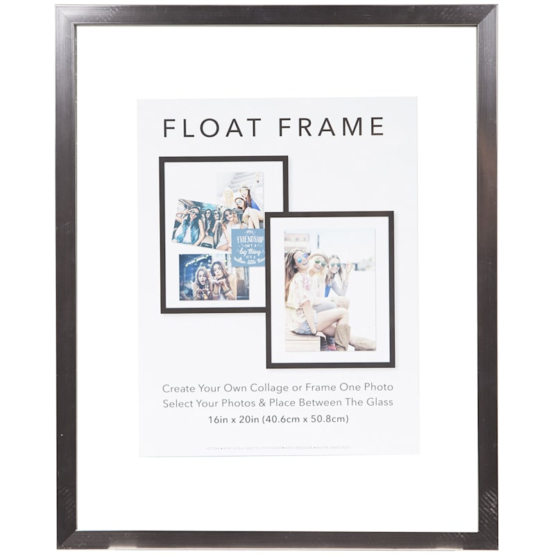 16X20 Pewter Linear Profile Float Photo Wall Frame