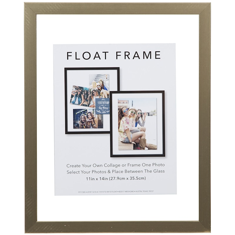 11X14 Gold Linear Profile Float Photo Wall Frame
