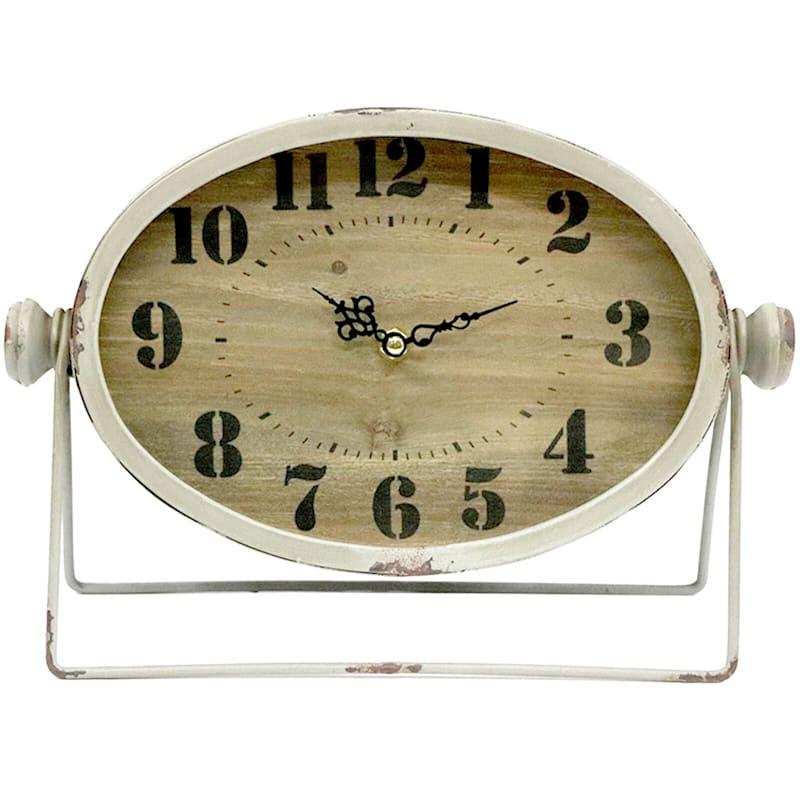 12X9 White Metal Clock