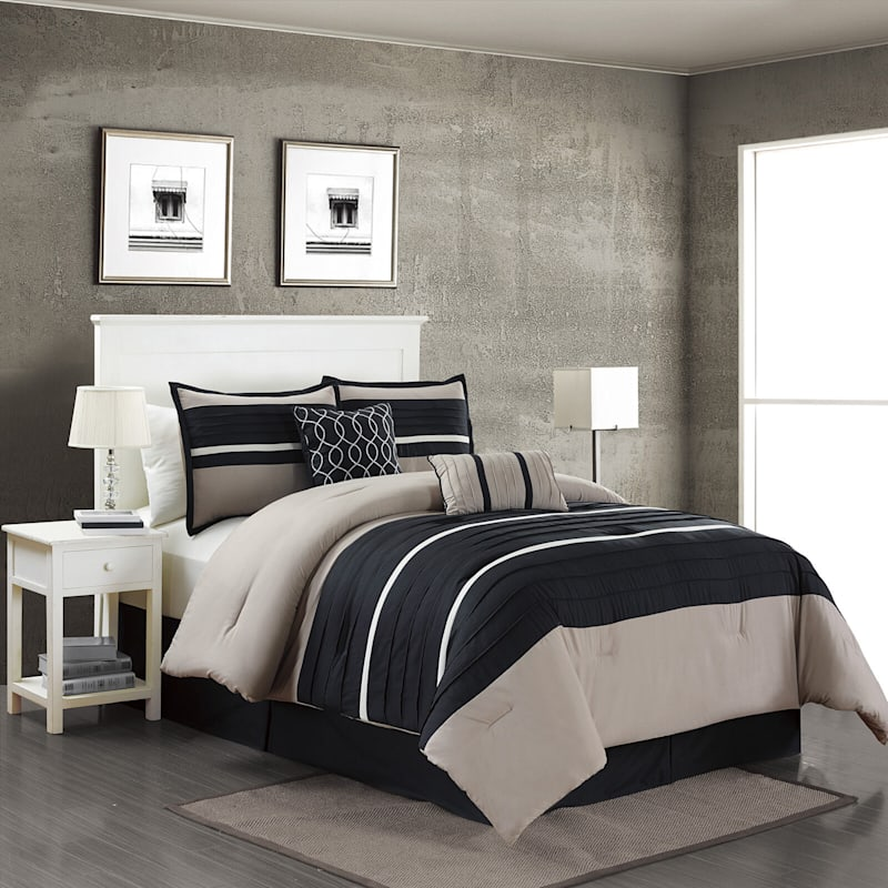 Daytona Black 5-Piece Pleated Comforter Set Queen